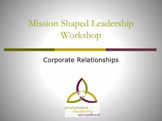 Mission Shaped Leadership Workshop