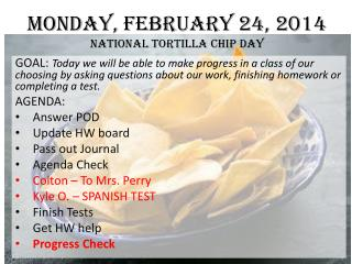 Monday, February 24, 2014 National Tortilla Chip Day