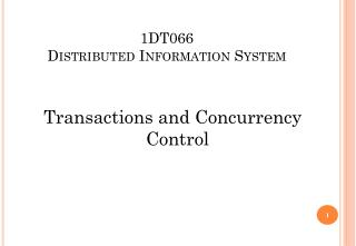 1DT066 Distributed Information System