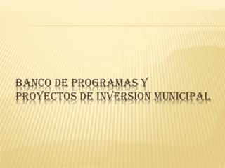 BANCO DE PROGRAMAS Y PROYECTOS DE INVERSION MUNICIPAL