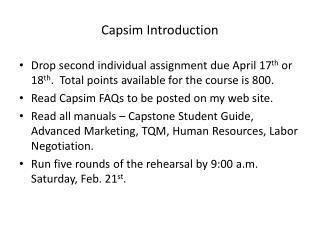 Capsim Introduction