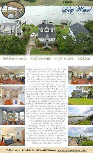 945  Shellmore  Ln ~ McClellanville ~ MLS# 1408611 ~ $825,000