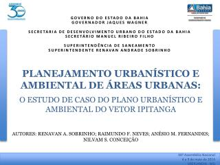 AUTORES : RENAVAN A. SOBRINHO; RAIMUNDO F. NEVES ; ANÉSIO  M. FERNANDES; NILVAM S. CONCEIÇÃO