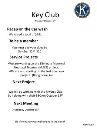 Key Club  Monday October  8 th