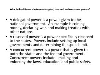What is the difference between delegated, reserved, and concurrent powers?