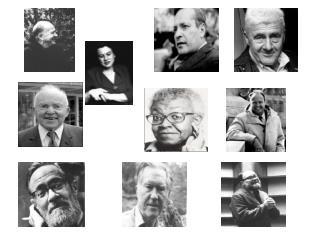 (clockwise from upper left): Eberhart, Stephen Spender, Howard Nemerov, James Dickey