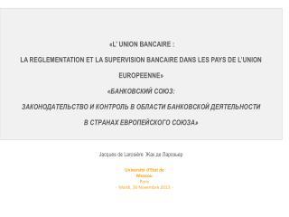 Université d'Etat de  Moscou Paris -   Mardi, 26 Novembre 2013  -