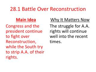 28.1  Battle Over Reconstruction