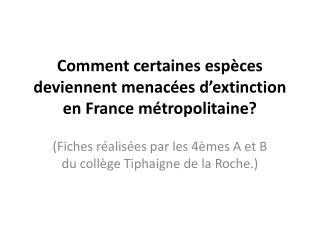 Comment certaines espèces deviennent menacées d'extinction en France métropolitaine?