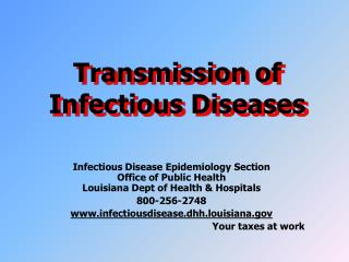 Transmission of Infectious Diseases