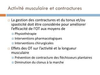 Activité musculaire et contractures