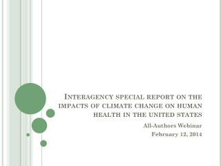 Interagency special report on the impacts of climate change on human health in the united states