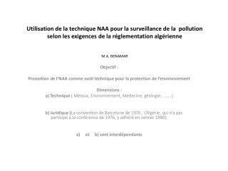 Objectif: Promotion de l'NAA comme outil technique pour la protection de l'environnement