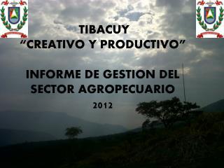 """TIBACUY """"CREATIVO Y PRODUCTIVO""""  INFORME  DE GESTION DEL SECTOR AGROPECUARIO  2012"""