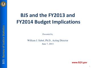 BJS  and  the FY2013 and FY2014  Budget  Implications