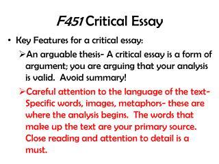 F451  Critical Essay