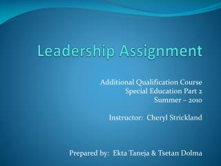 Leadership Assignment