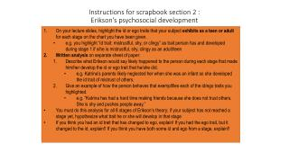 Instructions for scrapbook section 2 :  Erikson's psychosocial development