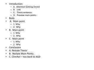 Introduction A.  Attention Getting Device B.   Link C.   Thesis sentence D.   Preview main points
