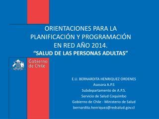E.U. BERNARDITA HENRIQUEZ ORDENES Asesora  A.P.S Subdepartamento  de A.P.S.