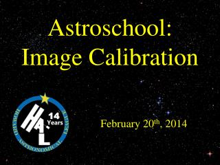 Astroschool : Image Calibration