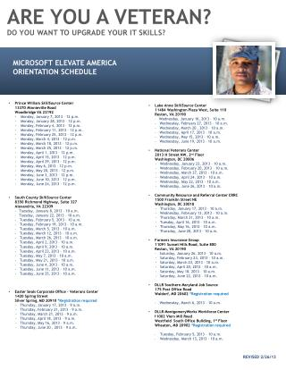 Microsoft Elevate America  Orientation Schedule Prince William  SkillSource  Center