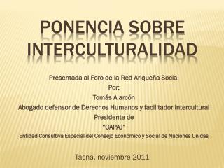 PONENCIA SOBRE interculturalidad