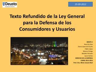 Texto Refundido de la Ley General para la Defensa de los Consumidores y Usuarios