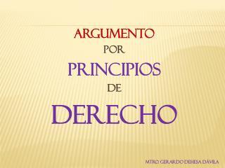 ARGUMENTO POR PRINCIPIOS DE  DERECHO MTRO. GERARDO DEHESA DÁVILA
