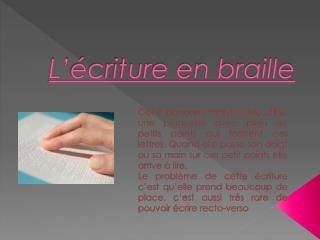 L' é criture en braille