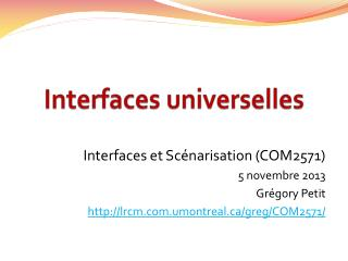 Interfaces universelles