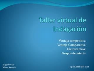 Taller virtual de indagación