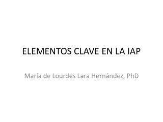 ELEMENTOS CLAVE EN LA IAP