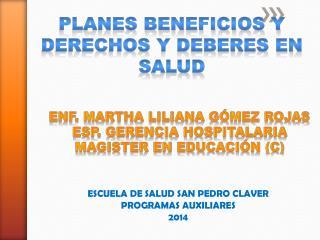 ESCUELA DE SALUD SAN PEDRO CLAVER PROGRAMAS AUXILIARES   2014