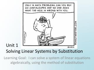 Unit 1 Solving Linear Systems by Substitution