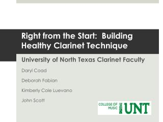 Right from the Start:  Building Healthy Clarinet Technique