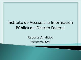 Reporte Analítico Noviembre, 2009