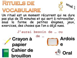 Rituels de vocabulaire