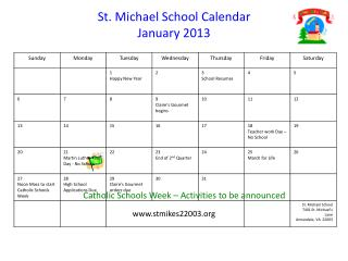 St. Michael School Calendar January 2013