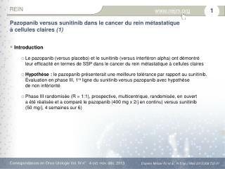 Pazopanib versus sunitinib dans le cancer du rein métastatique àcellulesclaires (1)