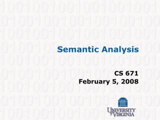 Semantic Analysis
