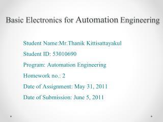 Basic Electronics for  Automation  Engineering