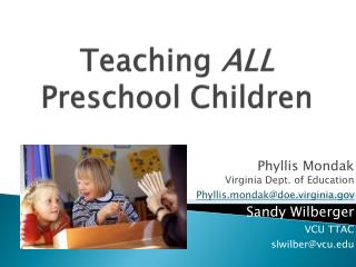 Teaching  ALL  Preschool Children