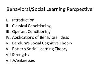 Behavioral/Social Learning Perspective
