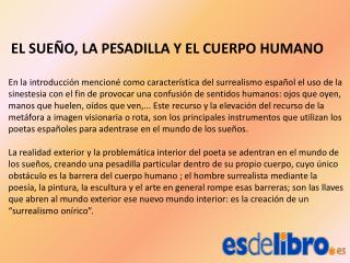 EL SUE�O, LA PESADILLA Y EL CUERPO HUMANO