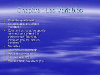 Chapitre : Les Variables