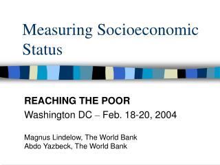 Measuring Socioeconomic Status