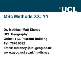 MSc Methods XX: YY