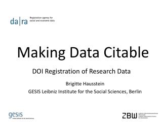Making Data  Citable