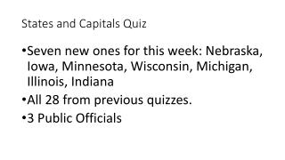 States and Capitals Quiz